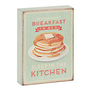 Breakfast in Bed Pancakes Wooden Word Block