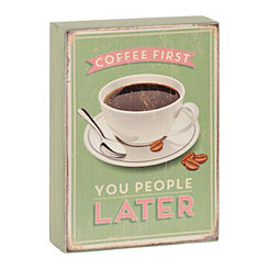 Coffee First Wooden Word Block