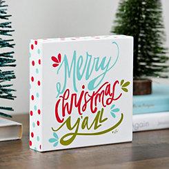 Merry Christmas Y'all Polka Dot Block Sign
