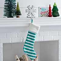 Knit Striped Blue Stocking