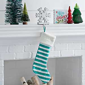 Knit Striped Blue Stocking