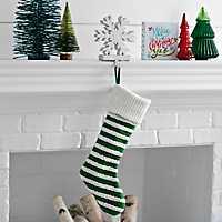 Knit Striped Green Stocking