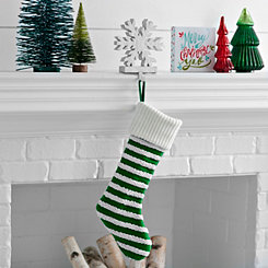 Knit Striped Green Stocking
