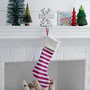 Knit Striped Pink Stocking