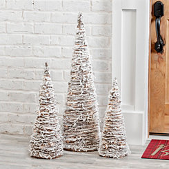 Pre-Lit Rattan Snow Tree, Set of 3