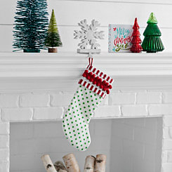 Green Polka Dot with Pom Trim Stocking