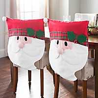 Plaid Santa Christmas Chair Covers, Set of 2