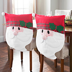 Plaid Santa Christmas Chair Covers, Set of 2