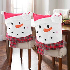 Plaid Snowman Christmas Chair Covers, Set of 2