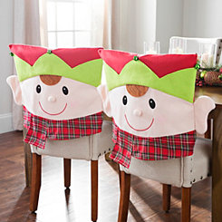 Plaid Elf Christmas Chair Covers, Set of 2