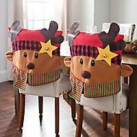Plaid Reindeer Christmas Chair Covers, Set of 2