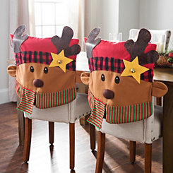 Plaid Reindeer Christmas Chair Covers, Set of 2