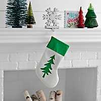 Green Glitter Christmas Tree Stocking