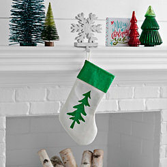 Green Glitter Christmas Tree Stocking