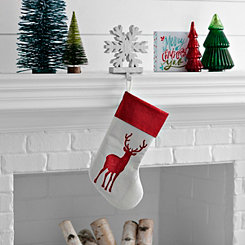Red Glitter Reindeer Stocking