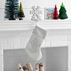 Silver Glitter Snowman Stocking