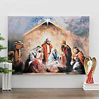 Nativity Scene Oil Canvas Painting