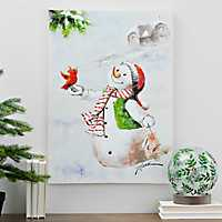 Snowman with Cardinal Oil Canvas Painting