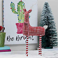 Red And White Head Up Fabric Deer Figurine