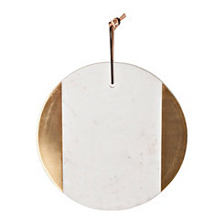 White and Gold Round Marble Cutting Board