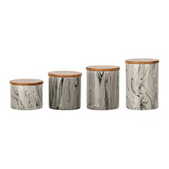 Marble and Wood Canisters, Set of 4