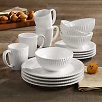 White Bianca Ridge 16 piece Dinnerware Set