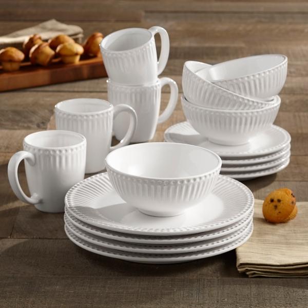 White Bianca Ridge 16 piece Dinnerware Set