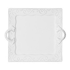 White Mina Scroll Square Serving Platter