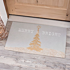 Gray Merry And Bright Christmas Doormat