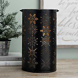 Black and Gold Luminary Snowflake Metal Lantern
