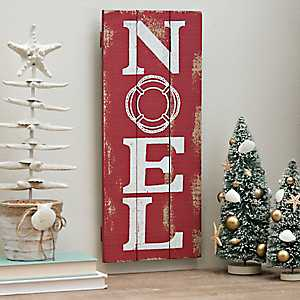 Noel Red Wooden Wall Plaque