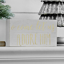 Come Let Us Adore Him White and Gold Pallet Block