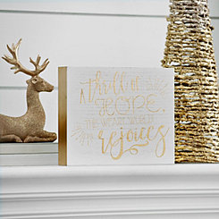 White and Gold Thrill Of Hope Wooden Block Sign