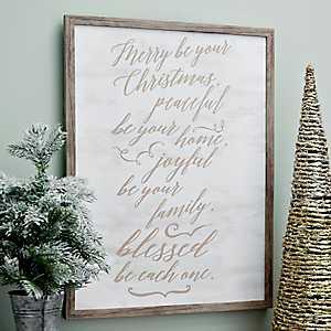 Sentimental Script Framed Christmas Wall Plaque