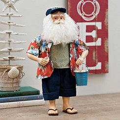 Fabric Beach Santa With Shells Figurine