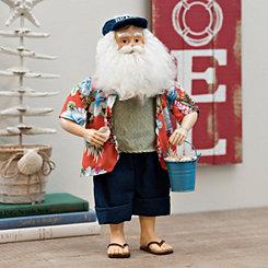 Fabric Beach Santa With Shells Figurine