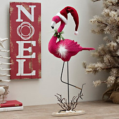 Flamingo with Santa Hat Figurine