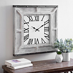 Grayson Whitewashed Wooden Wall Clock