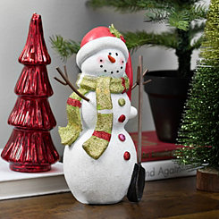Glitter Snowman With Santa Hat Figurine