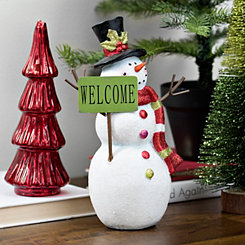 Glitter Snowman With Top Hat Figurine