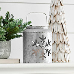 Galvanized Metal Snowflake LED Lantern, 7 in.
