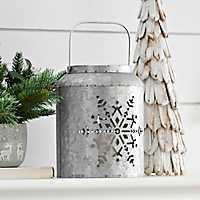 Galvanized Cutout Snowflake LED Lantern