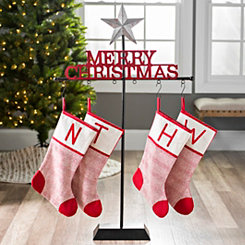 Galvanized Star Merry Christmas Stocking Holder