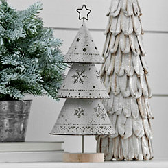 Gray Metal Cutout Christmas Tree