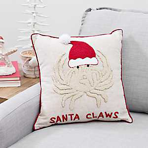 Embroidered Santa Claws Pillow
