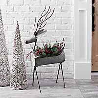 Galvanized Deer Christmas Planter