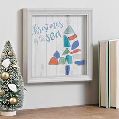 Christmas By The Sea Glass Wall Plaque