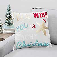 We Wish You A Beachy Christmas Pillow