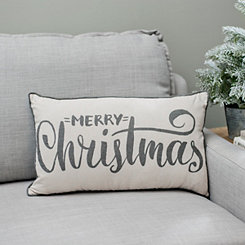 Gray Merry Christmas Accent Pillow