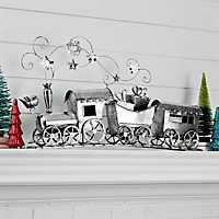 Pre-Lit Silver Train Statue
